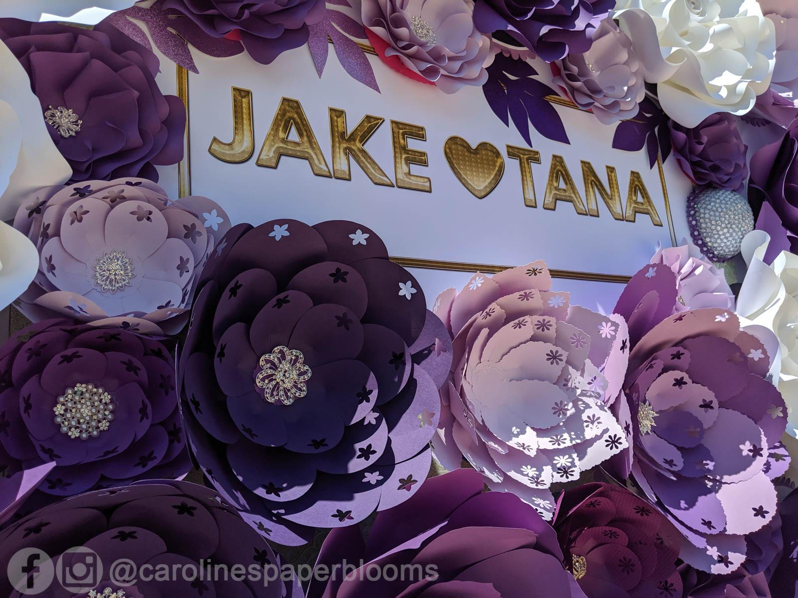 Jake Paul Tana Mongeau Las Vegas Wedding Paper Flower Wall Backdrop Caroline S Paper Blooms